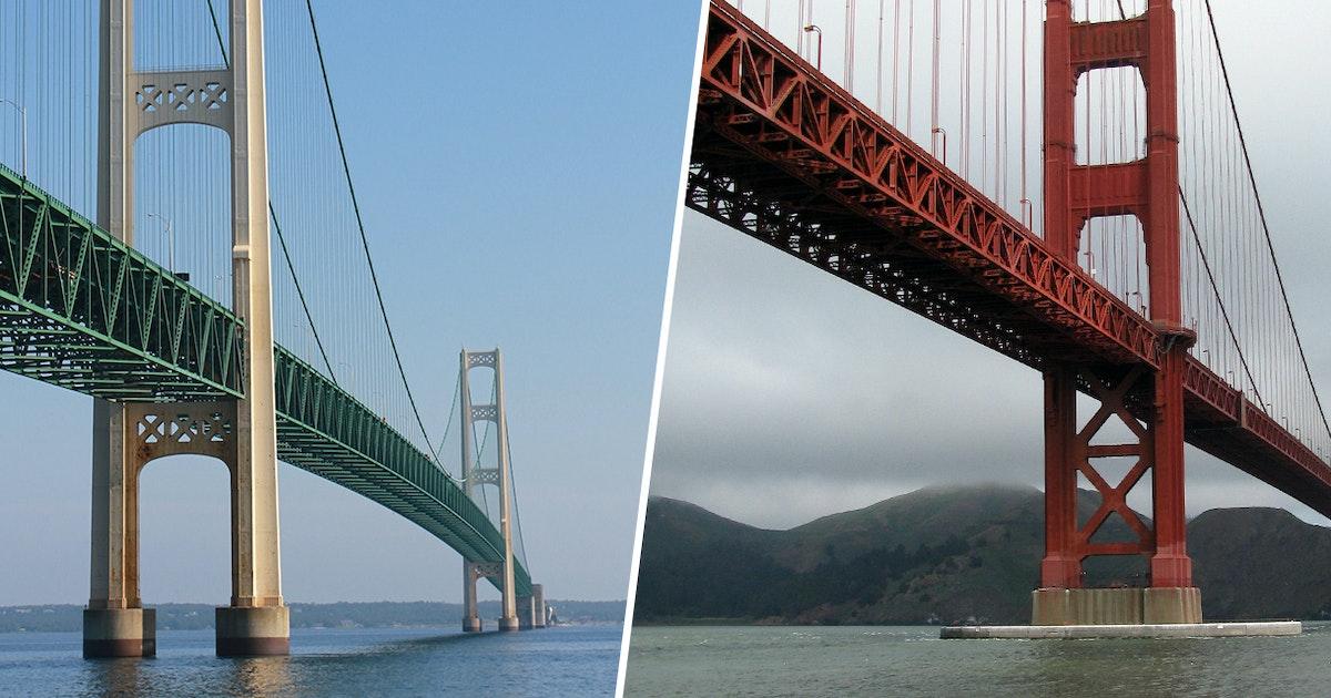 mackinac bridge vs golden gate bridge. Black Bedroom Furniture Sets. Home Design Ideas
